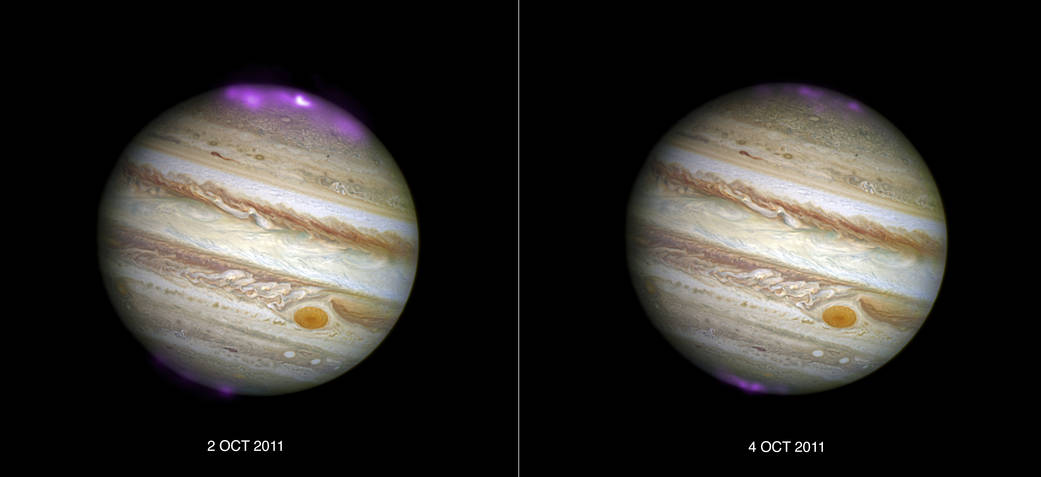 Solar Storms and Jupiter's Dancing Lights